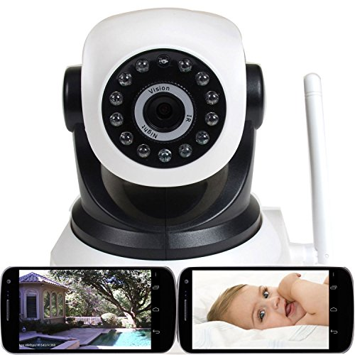 VideoSecu Wireless IP Video Audio Baby Monitor Day Night Vision Security Camera with Pan Tilt Wi-Fi for iPhone, iPad, Android Phone or PC Remote View IPP105W 1U2