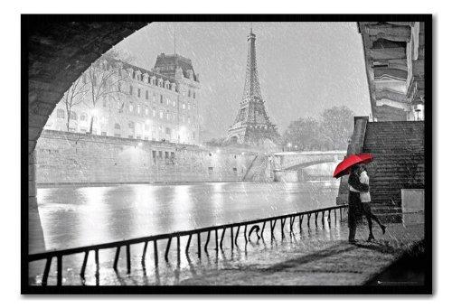 Paris Eiffel Tower Kiss Poster Cork Pin Memo Board Black Framed - 96.5 x 66 cms (Approx 38 x 26 inches) (Paris Memo Board compare prices)