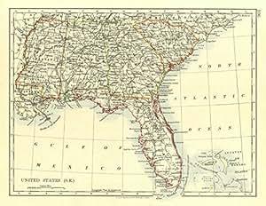 Amazon.com: USA DEEP SOUTH. Florida South Carolina Georgia Alabama