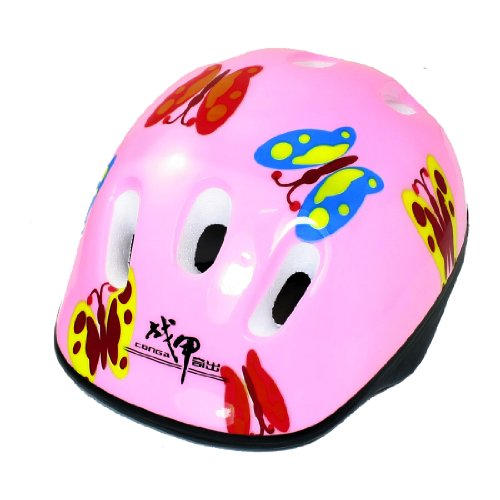 Como Butterfly Pattern Pink Cycling Skating Sports Safety Helmet Gift for Children