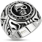 STR-0156 Stainless Steel Skull Shield Wide Cast Ring