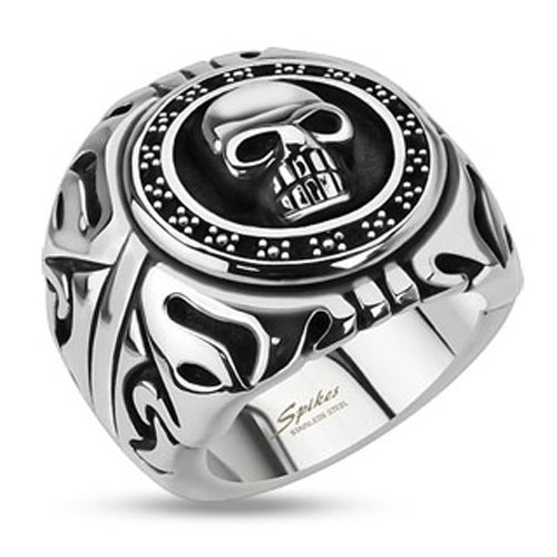 STR-0156 Stainless Steel Skull Shield Wide Cast Ring (9)