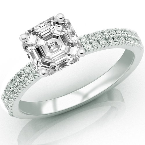 For sale 0.76 Carat Asscher Cut / Shape GIA Certified Two Rows Of Pave Diamond Engagement Ring ( F Color , VVS2 Clarity )