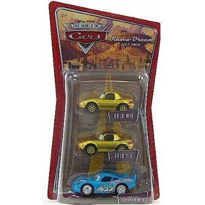 Buy Low Price Mattel Disney / Pixar CARS 1:55 Die Cast Figure 3-Pack Gold Mia, Gold Tia & Bling Bling McQueen (B0012ROW5E)
