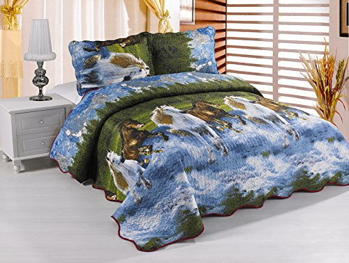 Bellahome 5-Piece Goose Down Alternative Comforter Set, Queen Size, Wild Horses