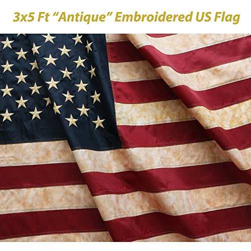 ANLEY [Vintage Style] Tea Stained American US Flag 3x5 Foot Nylon - Embroidered Stars and Sewn Stripes - 4 Rows of Lock Stitching - Antiqued USA Banner Flags with Brass Grommets 3 X 5 Ft (Vintage Flag compare prices)