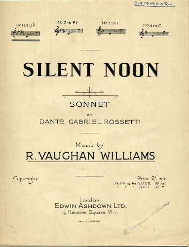 Silent Noon. Sonnet: by Dante Gabriel Rossetti. [Song.] (Silent Noon Sheet Music compare prices)