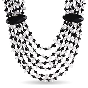 Silvertone Black Agate and White Quartz Six Strand Necklace (23.5