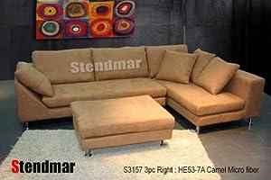 3pc Modern Camel Color Microfiber Sectional Sofa S3157R-7A