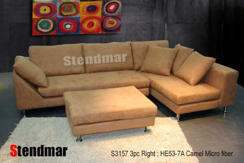 3pc Modern Camel Color Microfiber Sectional Sofa S3157R 7A