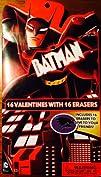 Batman Valentine Cards with 16 Erasers
