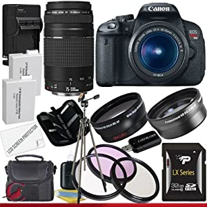 Canon EOS Rebel T4i 18.0 MP CMOS Digital SLR with 18-55mm EF-S IS II Lens & Canon 75-300 Lens + 58mm 2x Telephoto lens + 58mm Wide Angle Lens (4 Lens Kit!!!!!!) W/32GB SDHC Memory+ 2 Extra Batteries + Charger + 3 Piece Filter Kit + UV Filter + Full Size Tripod + Case +Accessory Kit