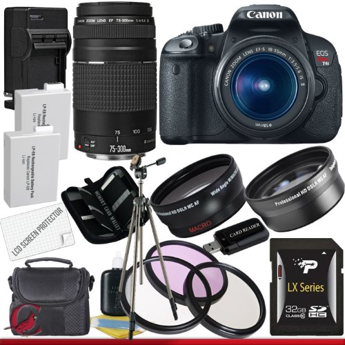 Great Features Of Canon EOS Rebel T4i 18.0 MP CMOS Digital SLR with 18-55mm EF-S IS II Lens (Refurbished) & Canon 75-300 Lens + 58mm 2x Telephoto lens + 58mm Wide Angle Lens (4 Lens Kit!!!!!!) W/32GB SDHC Memory+ 2 Extra Batteries + Charger + 3 Piece Filter Kit + UV Filter + Full Size Tripod + Case +Accessory Kit