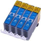 Merotoner® 4er Pack Tintenpatronen für Canon CLI 526 , CLI 526 mit Chip Canon Pixma kompatibel (Cyan/Blau)
