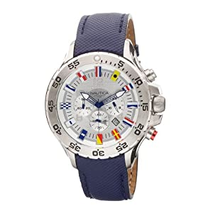 Nautica Men's Leather N16530G Blue Polyurethane Analog Quartz Watch with Silver Dial
