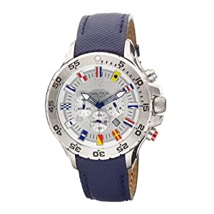 Nautica Men's Leather N16530G Blue Polyurethane Analog Quartz Watch