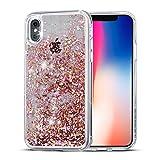 iPhone X Case,SUPVIN Liquid Case for iPhone X, Fashion Creative Design Floating Luxury Bling Glitter Sparkle Hard Case with Rhinestone Diamond [TPU+PC] for iPhone X/iPhone 10(Diamond-Rose Gold)