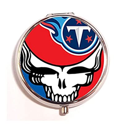 Steal Your Face Tennessee Titans Flame Custom Round Silver Pill Box Pocket 2.0 inches Medicine Tablet Holder Organizer Case for Purse