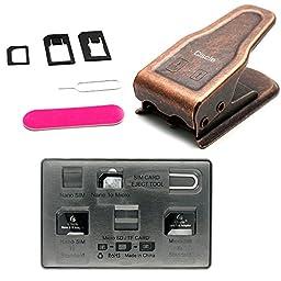 Ciscle Sim Card Cutter, Sim/Micro/Nano 2in1 SIM cutter Sim nano SIM micro SIM cutter for iPhone 6 Plus iPhone 6 iPhone 5 iPhone 4, 4S and other Phones + Sim adapter 5in1 (Bronze)