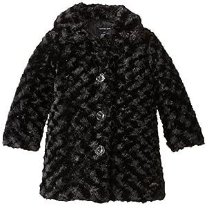 Calvin Klein Little Girls'  Faux Fur Coat, Black, 3T