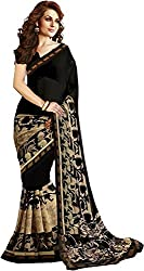 WXW Fashion Premium Black & Beige Georgette Printed Saree with Blouse Piece