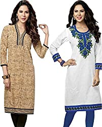 SDM Women's Kurti Printed Cotton Dress Material Unstitched Combo of 2 (123-130 ,Unstitched)