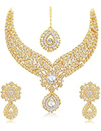 Sukkhi Glimmery Gold Plated AD Necklace Set For Women