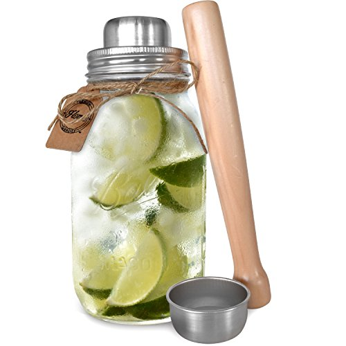 Premium 32 Ounce Mason Jar Cocktail Shaker with Wooden Muddler | Includes Iconic