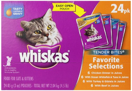 Whiskas Tender Bites Diced Variety Pack, 4.5-Pound