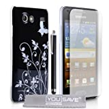 Samsung Galaxy S Advance i9070 Accessory Pack Black / Silver Butterfly Floral Pattern IMD Hard Case Cover With Stylus Pen Screen Protector Film And Grey Micro-Fibre Polishing Clothby Yousave Accessories
