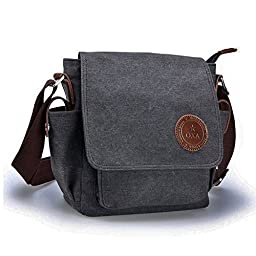 OXA Small Vintage Durable Canvas Messenger Bag Ipad Bag Satchel Crossbody Shoulder Sling Bag Shopping Bags Outdoor Travel Casual Bag for Men and Women Black