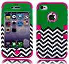 myLife Hot Pink and Green - Flat Color and Chevron Series (3 Piece Protective) Hard and Soft Case for the iPhone 4/4S (4G) 4th Generation Touch Phone (Fitted Front and Back Solid Cover Case + Internal Silicone Gel Rubberized Tough Armor Skin)