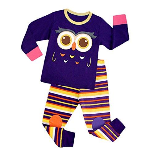 YOUJIA Bambini Pigiama Due Pezzi a Manica Lunga Cotone Stripey Pigiami Set per Halloween 7 anni (Altezza 120-130cm)