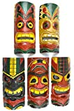 SET OF 5 HAND CARVED POLYNESIAN HAWAIIAN TIKI STYLE MASKS 12 IN TALL