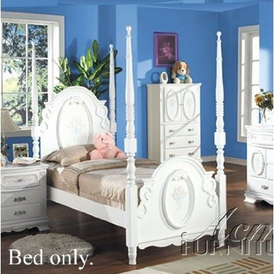 Flora White Flower Girls Childs 4 Post Full Size Bed