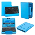 SUPERNIGHT Bluetooth Keyboard Case Cover for Samsung Galaxy Tab 4 10.1 & Note 10.1 2014 Edition Tablet - Blue