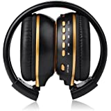 VicTop Digital Foldable Stereo Headset SD TF MP3 Music & FM Radio Player Wireless Headphones for PC with LCD Screen HI-FI Sound Built-in Microphone for Laptop Tablet PC