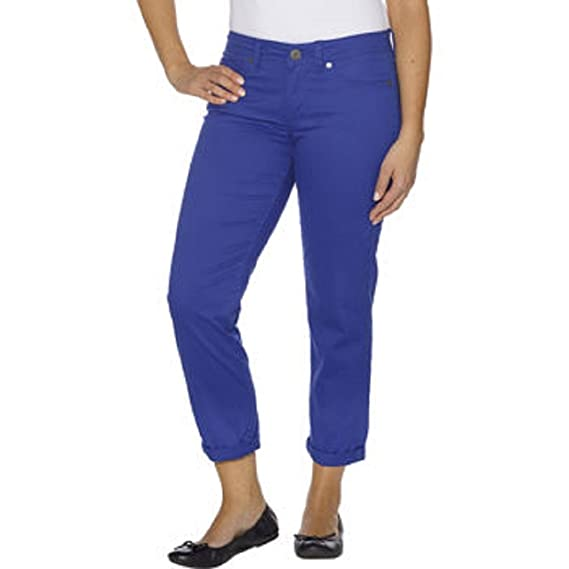 Calvin Klein Womens Power Stretch Skinny Cropped Pants Blue