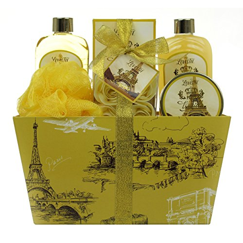 Paris Vanilla Spa Gift Set By Lovestee - Bath and Body Gift Basket, Gift Box, Gift Set Includes Paris Vanilla Shower Gel, Bubble Bath, Sensual Body Lotion, Bath Salt, Bath Puff and Rose Petal Soap