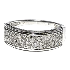 7mm Wide Mens Wedding Band Ring 10K White Gold 0.4ctw Diamonds