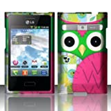 LG Optimus Logic L35g / Dynamic L38c Case Owl Green/Pink Patchwork Design Cover (Straight Talk/Net 10) + Free TRENDE Gift Box