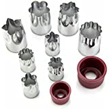 Gusteaux Vegetable Cutter - Set of 10 Pieces - Stainless Steel Flower Shapes - Four Large & Four Small Cutters + Two Handguards