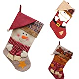 Generic Snowman : Stockings Socks Plaid Santa Claus Candy Gift Bag New Year Christmas Xmas Tree Hanging Ornament...