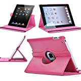 ATC 360 Degrees Rotating Stand (Hot Pink) Leather Smart Cover Case for Apple iPad 2 with wake/sleep capability