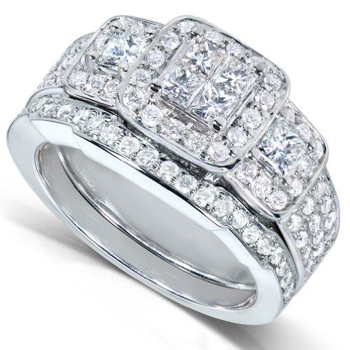 1 1/3ct TW Princess Diamond Wedding Rings Set in 14k White Gold