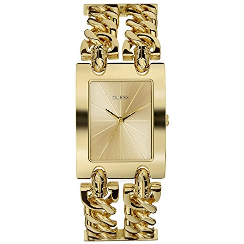 Guess  - Reloj de cuarzo para mujer, correa de acero inoxidable color dorado