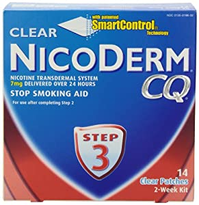NicoDerm CQ Step 3 Clear Patch, 7 mg, 2-Week Kit (14 patches)