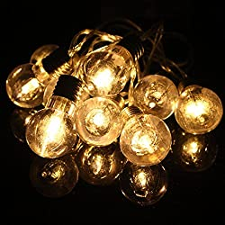 SOLMORE LED Lichterkette warmweiß Birne Gluehbirne Globe String Licht Sternenlicht für Garten, Haushalt, Hochzeit, Weihnachtsfeier, Weihnachten, Batteriebetrieben