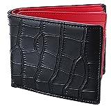 Legare 財布 二つ折り レザー 革財布 メンズ カード たくさん入る 2つ折り財布 10色 (クロコ×レッド)