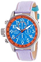 Invicta Force Lefty Crown Chronograph Blue Dial Purple Fabric Mens Watch 12076
